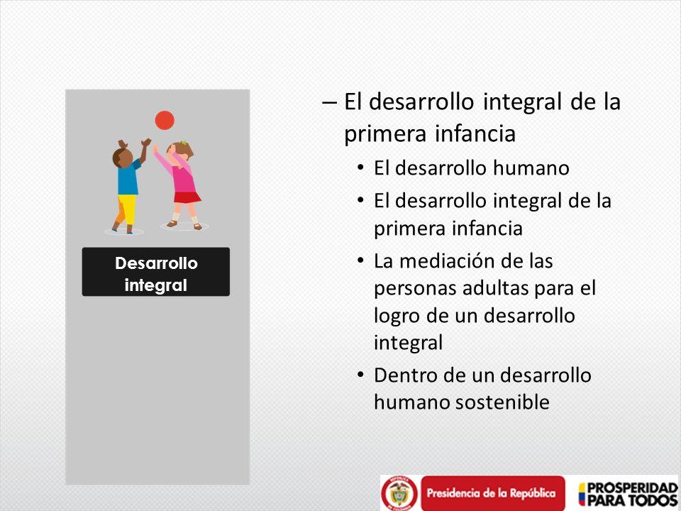 – El desarrollo integral de la primera infancia El desarrollo humano El desarrollo integral de la primera infancia La mediación de las personas adulta