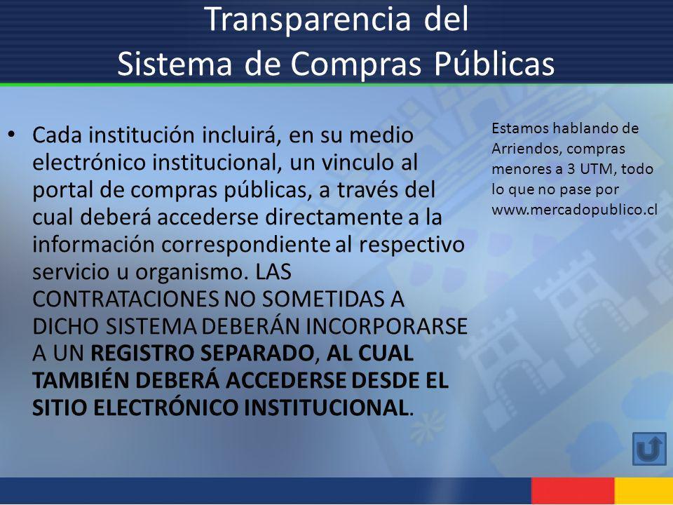 Transparencia del Sistema de Compras Públicas Cada institución incluirá, en su medio electrónico institucional, un vinculo al portal de compras públic