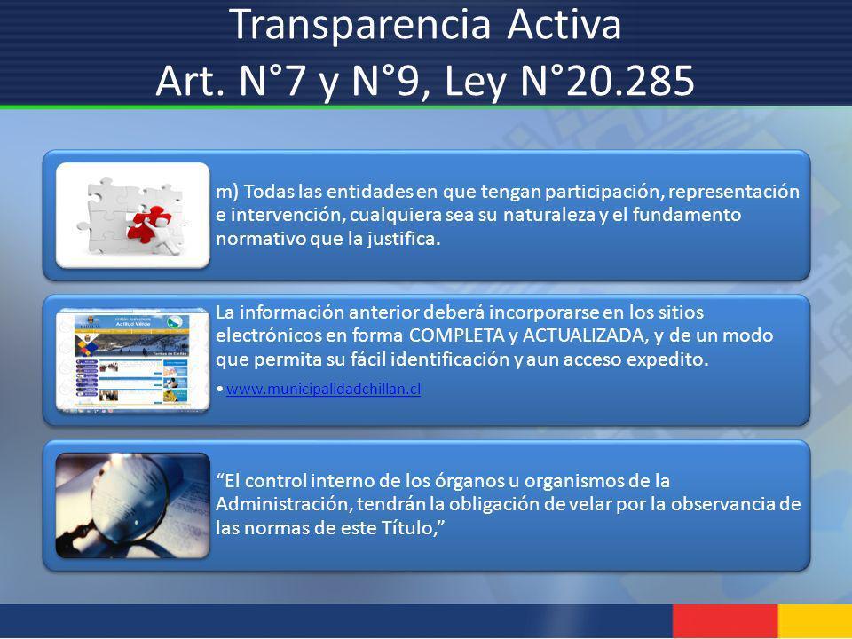 Transparencia Activa Art. N°7 y N°9, Ley N°20.285 m) Todas las entidades en que tengan participación, representación e intervención, cualquiera sea su