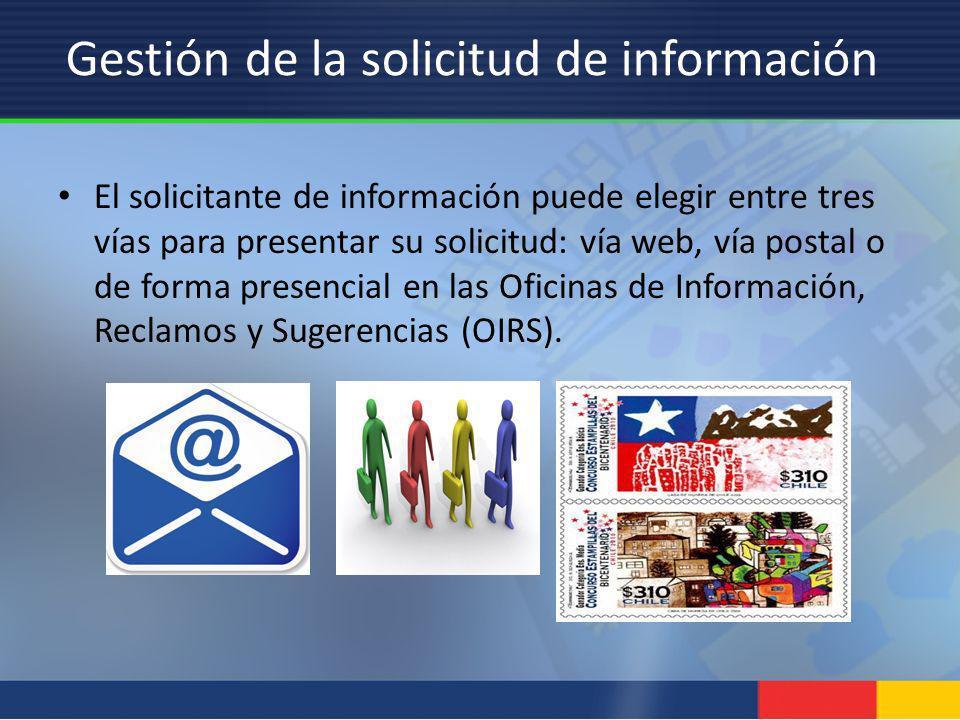 Gestión de la solicitud de información El solicitante de información puede elegir entre tres vías para presentar su solicitud: vía web, vía postal o d