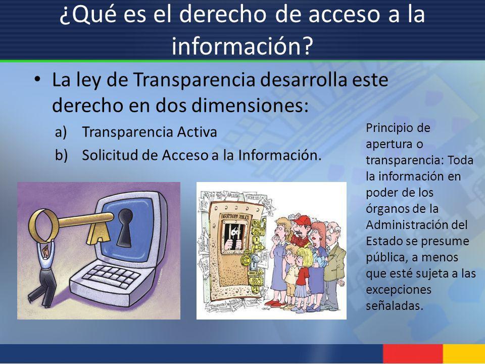 ¿Qué es el derecho de acceso a la información? La ley de Transparencia desarrolla este derecho en dos dimensiones: a)Transparencia Activa b)Solicitud