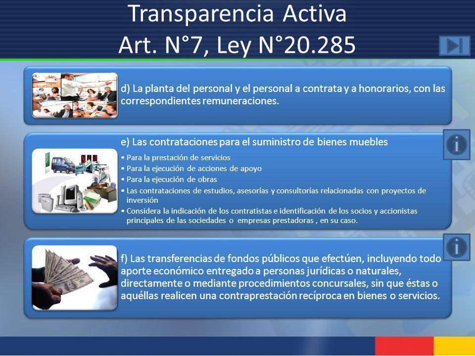 d) La planta del personal y el personal a contrata y a honorarios, con las correspondientes remuneraciones. e) Las contrataciones para el suministro d