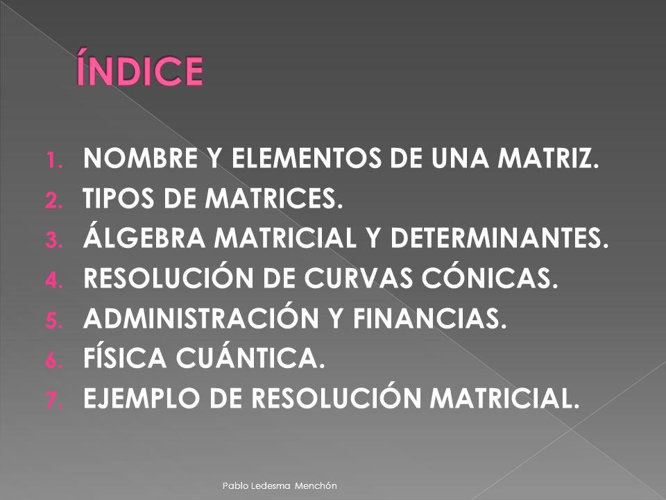 1. NOMBRE Y ELEMENTOS DE UNA MATRIZ. 2. TIPOS DE MATRICES. 3. ÁLGEBRA MATRICIAL Y DETERMINANTES. 4. RESOLUCIÓN DE CURVAS CÓNICAS. 5. ADMINISTRACIÓN Y