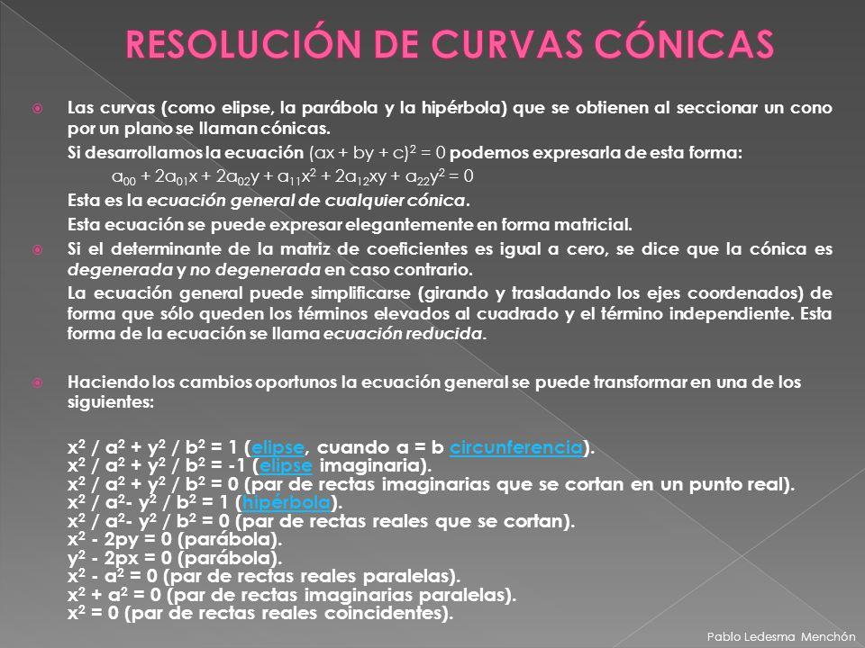 Las curvas (como elipse, la parábola y la hipérbola) que se obtienen al seccionar un cono por un plano se llaman cónicas. Si desarrollamos la ecuación