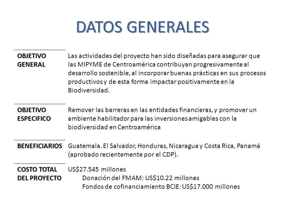 DATOS GENERALES OBJETIVOGENERAL Las actividades del proyecto han sido diseñadas para asegurar que las MIPYME de Centroamérica contribuyan progresivame