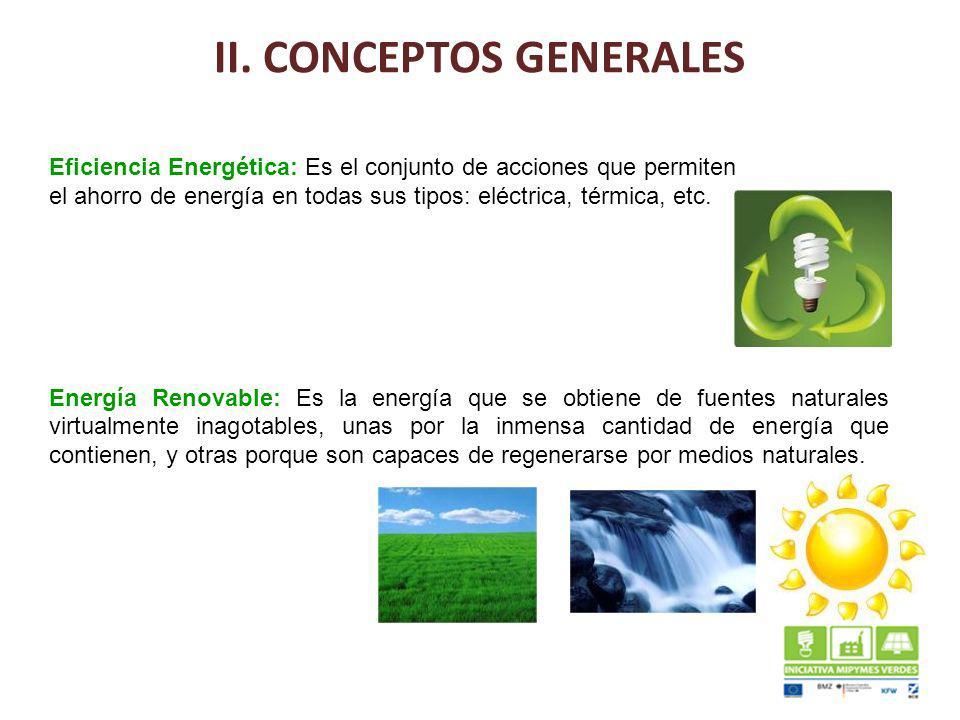 II. CONCEPTOS GENERALES Eficiencia Energética: Es el conjunto de acciones que permiten el ahorro de energía en todas sus tipos: eléctrica, térmica, et