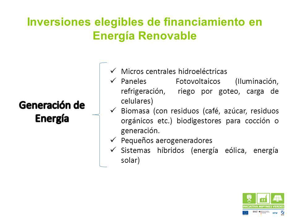 Inversiones elegibles de financiamiento en Energía Renovable Micros centrales hidroeléctricas Paneles Fotovoltaicos (Iluminación, refrigeración, riego