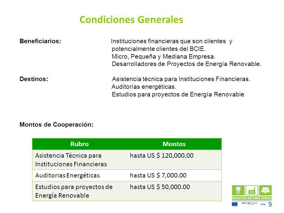 Beneficiarios: Instituciones financieras que son clientes y potencialmente clientes del BCIE. Micro, Pequeña y Mediana Empresa. Desarrolladores de Pro