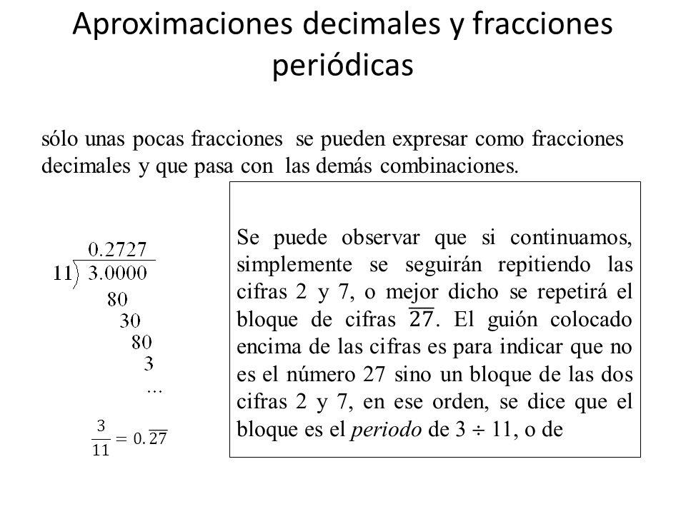 Aproximaciones decimales y fracciones periódicas sólo unas pocas fracciones se pueden expresar como fracciones decimales y que pasa con las demás comb