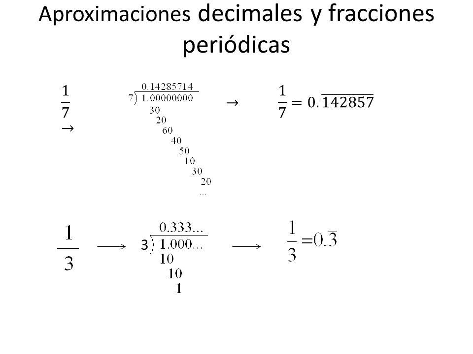 Aproximaciones decimales y fracciones periódicas 3