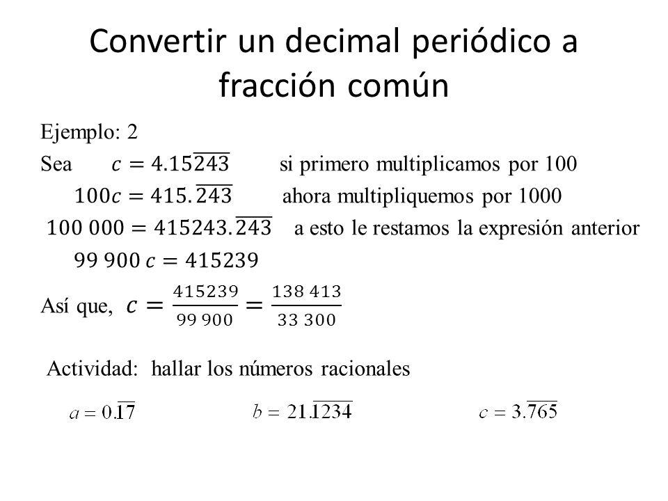 Actividad: hallar los números racionales