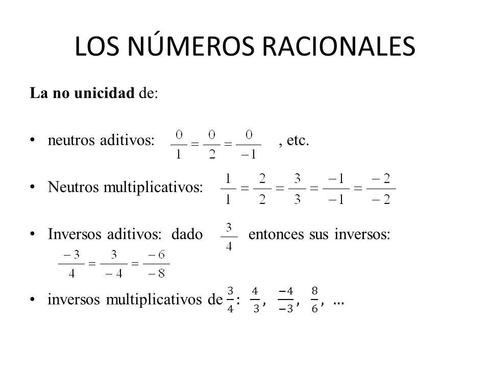 LOS NÚMEROS RACIONALES La no unicidad de: neutros aditivos:, etc. Neutros multiplicativos: Inversos aditivos: dado entonces sus inversos: