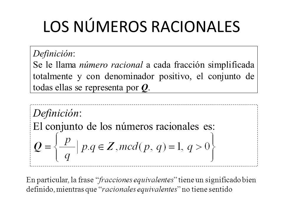 LOS NÚMEROS RACIONALES Definición: El conjunto de los números racionales es: Definición: Se le llama número racional a cada fracción simplificada tota