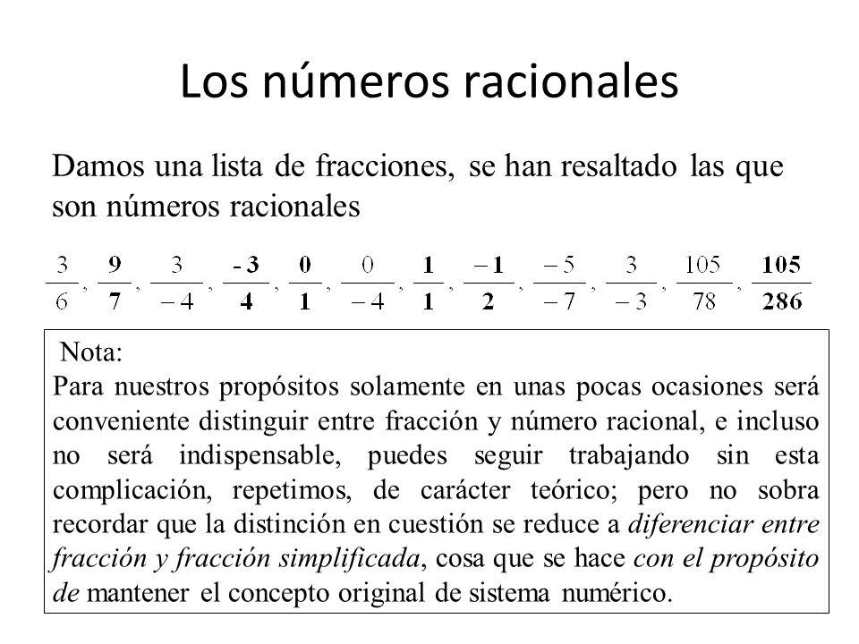 Los números racionales Damos una lista de fracciones, se han resaltado las que son números racionales Nota: Para nuestros propósitos solamente en unas