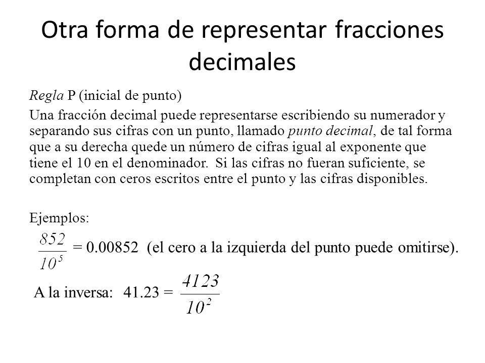 Otra forma de representar fracciones decimales Regla P (inicial de punto) Una fracción decimal puede representarse escribiendo su numerador y separand