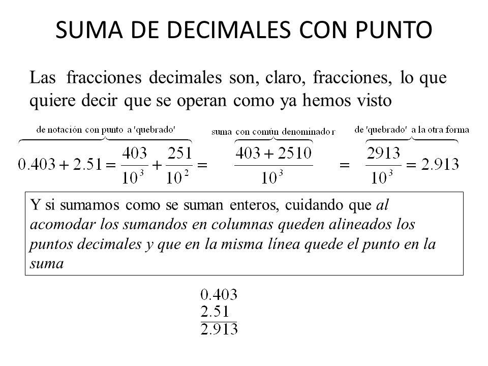 SUMA DE DECIMALES CON PUNTO Las fracciones decimales son, claro, fracciones, lo que quiere decir que se operan como ya hemos visto Y si sumamos como s