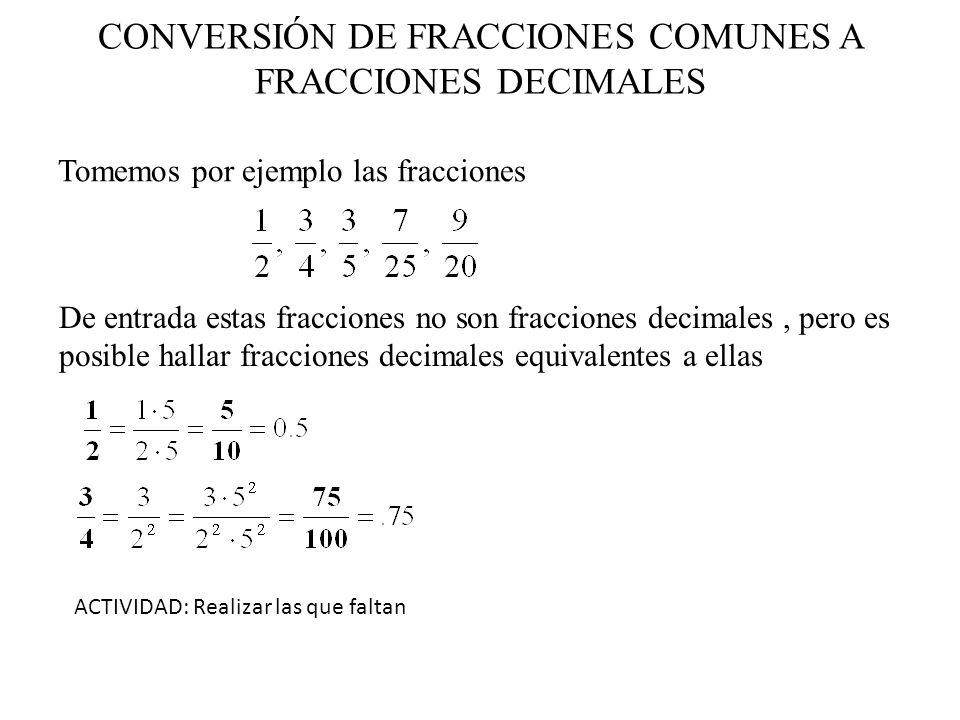 CONVERSIÓN DE FRACCIONES COMUNES A FRACCIONES DECIMALES Tomemos por ejemplo las fracciones De entrada estas fracciones no son fracciones decimales, pe