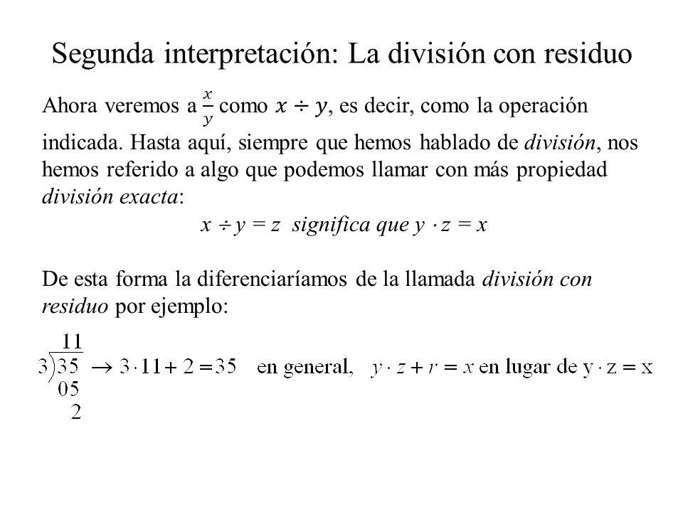 Segunda interpretación: La división con residuo
