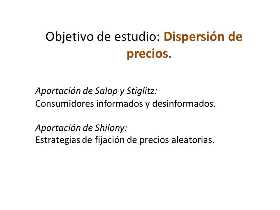 Objetivo de estudio: Dispersión de precios. Aportación de Salop y Stiglitz: Consumidores informados y desinformados. Aportación de Shilony: Estrategia