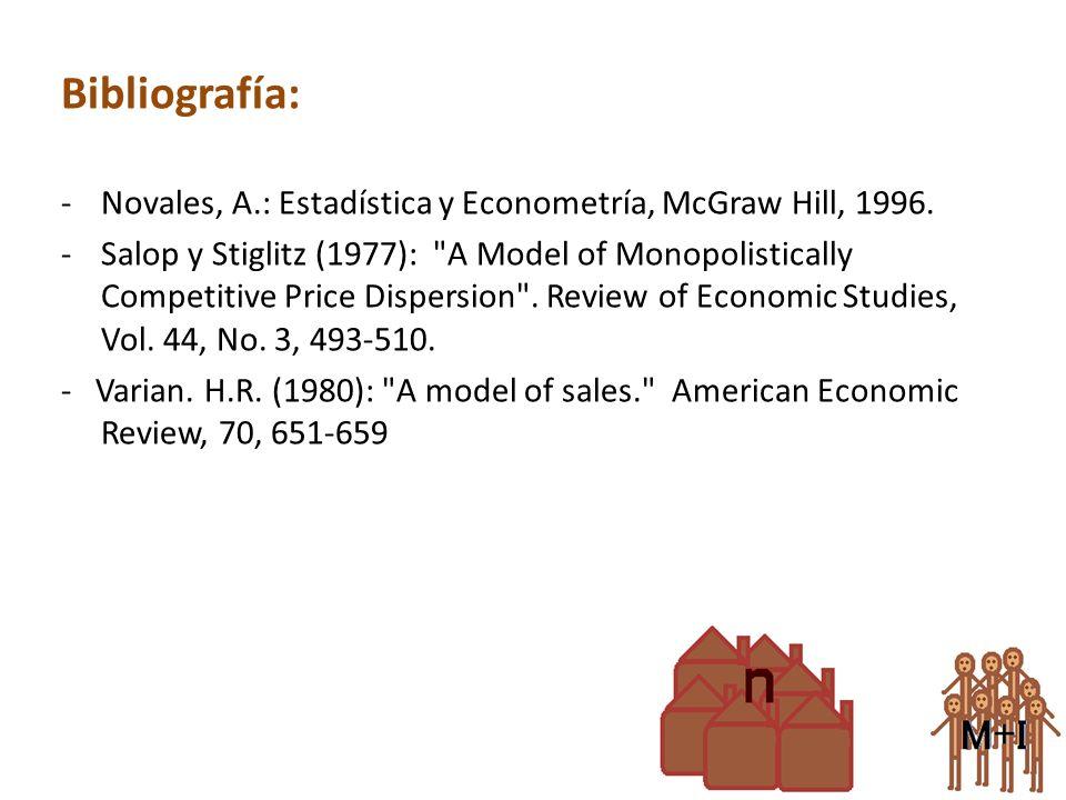 Bibliografía: -Novales, A.: Estadística y Econometría, McGraw Hill, 1996. -Salop y Stiglitz (1977):