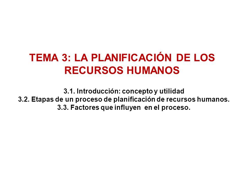 TEMA 3: LA PLANIFICACIÓN DE LOS RECURSOS HUMANOS 3.1.