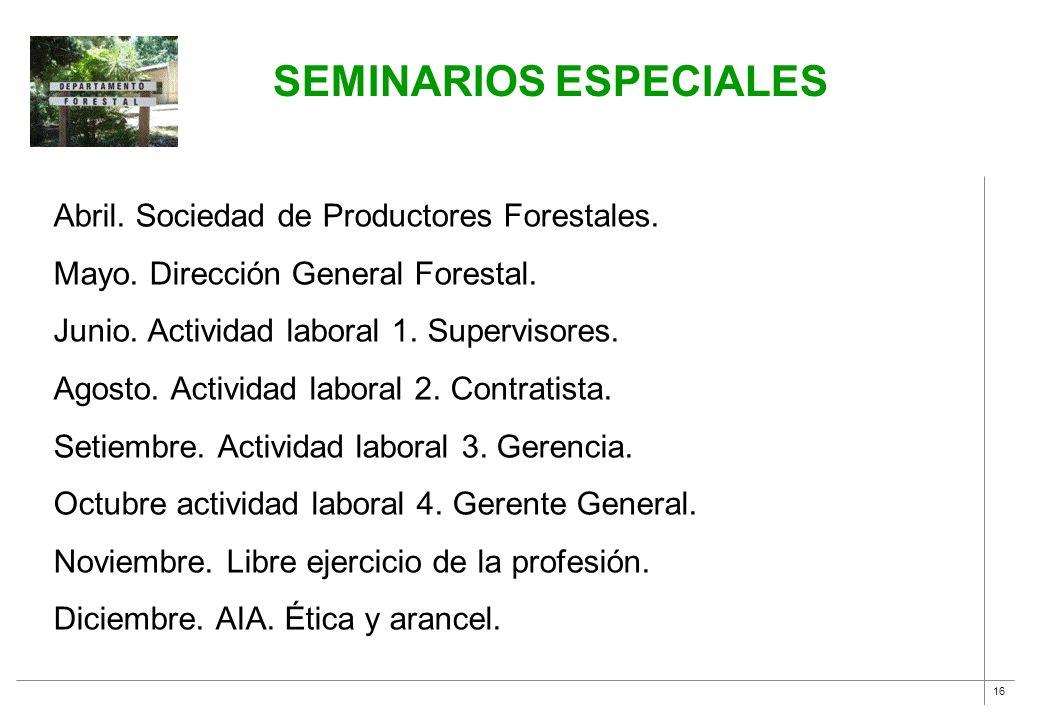 16 Abril. Sociedad de Productores Forestales. Mayo. Dirección General Forestal. Junio. Actividad laboral 1. Supervisores. Agosto. Actividad laboral 2.