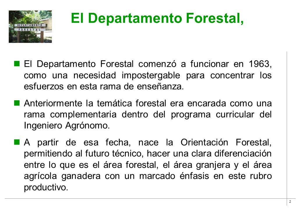 2 El Departamento Forestal, El Departamento Forestal comenzó a funcionar en 1963, como una necesidad impostergable para concentrar los esfuerzos en es