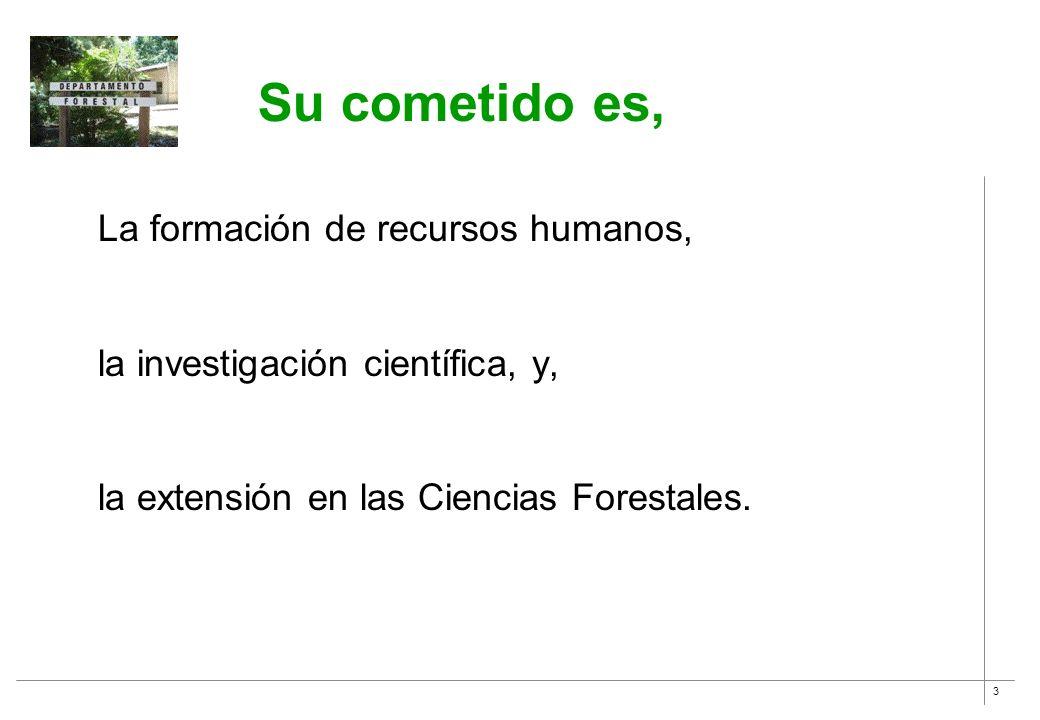 3 Su cometido es, La formación de recursos humanos, la investigación científica, y, la extensión en las Ciencias Forestales.