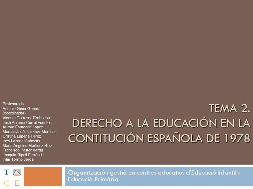 Contenidos EL DERECHO A LA EDUCACIÓN: Derechos en educación Internacionalización del derecho a la educación La Ley General de Educación (LGE), de 1970, y el derecho a la educación EL DERECHO A LA EDUCACIÓN: Derechos en educación Internacionalización del derecho a la educación La Ley General de Educación (LGE), de 1970, y el derecho a la educación LA CONCRECIÓN DEL DERECHO A LA EDUCACIÓN DESDE LA CONSTITUCIÓN DE 1978: Constitución (1978) LOECE (1980) LODE (1990) LOGSE (1990) LOPEGCE (1995) LOCE (2002) LOE (2006) COMPETENCIAS ESTATALES Y AUTONÓMICAS LA CONCRECIÓN DEL DERECHO A LA EDUCACIÓN DESDE LA CONSTITUCIÓN DE 1978: Constitución (1978) LOECE (1980) LODE (1990) LOGSE (1990) LOPEGCE (1995) LOCE (2002) LOE (2006) COMPETENCIAS ESTATALES Y AUTONÓMICAS