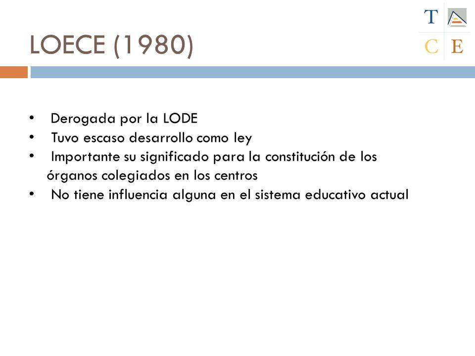 LOECE (1980) Derogada por la LODE Tuvo escaso desarrollo como ley Importante su significado para la constitución de los órganos colegiados en los cent