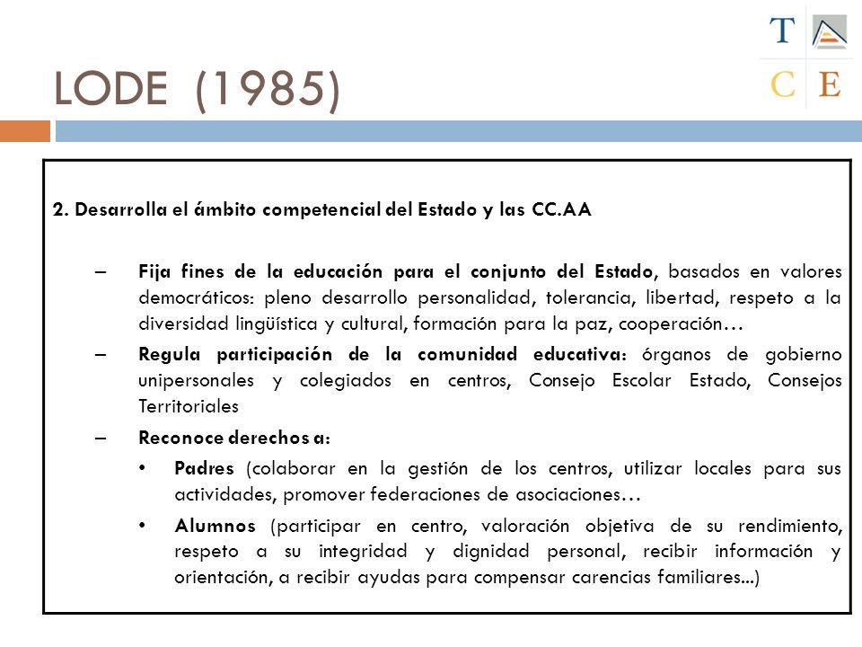 LODE (1985) 2. Desarrolla el ámbito competencial del Estado y las CC.AA –Fija fines de la educación para el conjunto del Estado, basados en valores de