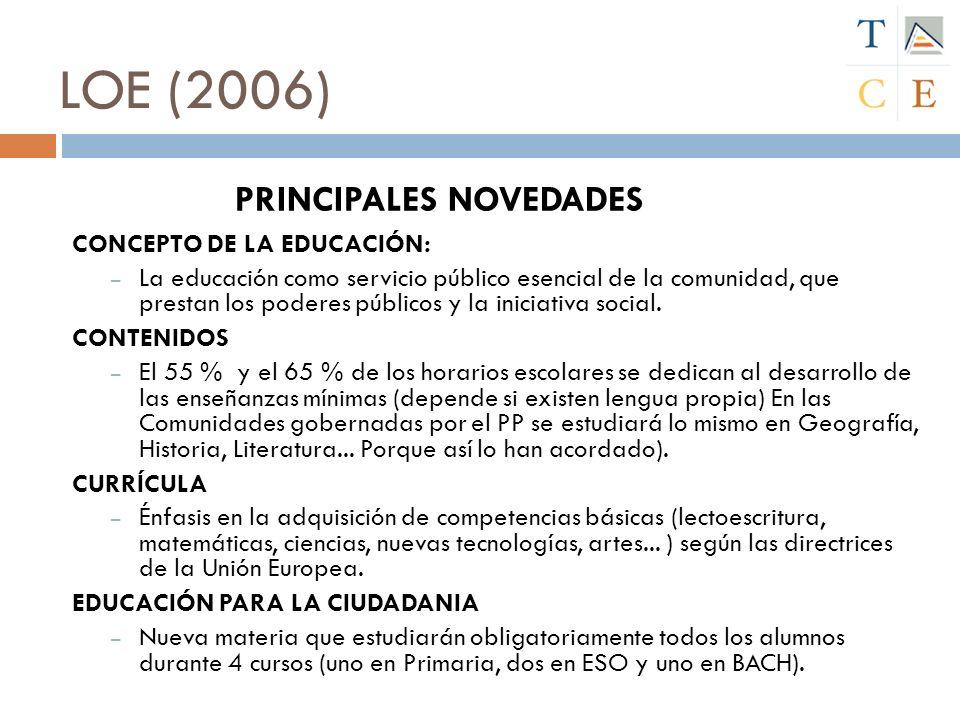 LOE (2006) PRINCIPALES NOVEDADES CONCEPTO DE LA EDUCACIÓN: – La educación como servicio público esencial de la comunidad, que prestan los poderes públ