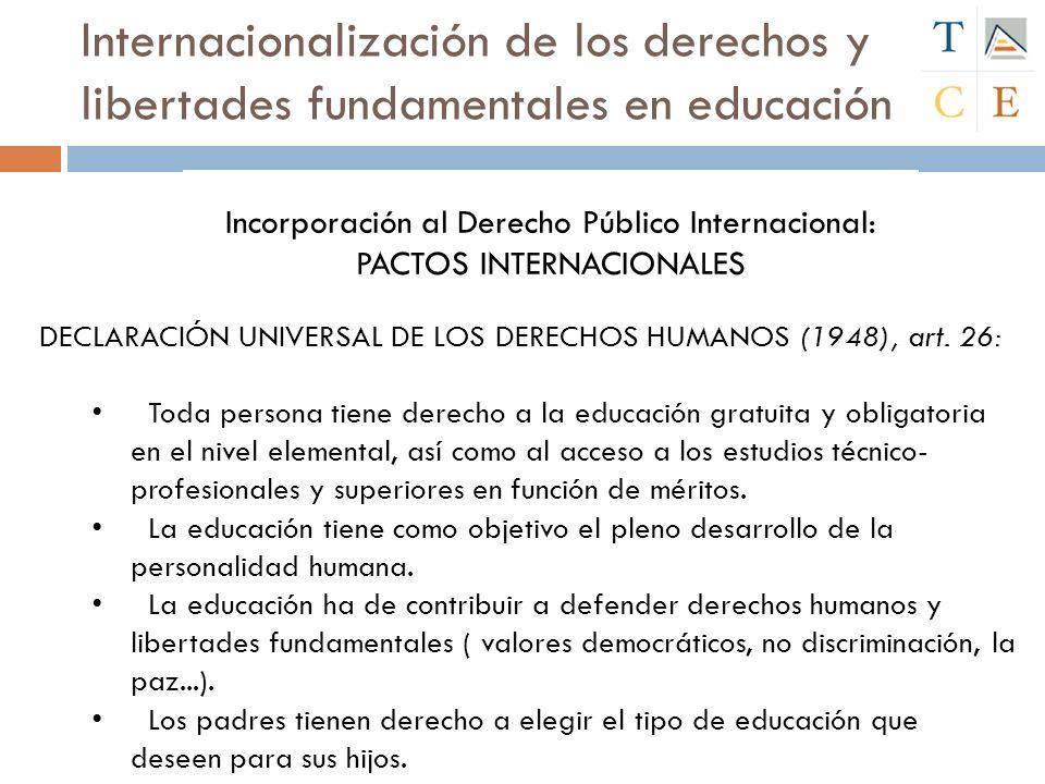 Internacionalización de los derechos y libertades fundamentales en educación Declaración de los Derechos del Niño (1959) : El niño tiene derecho a recibir educación, que será gratuita y obligatoria por lo menos en las etapas elementales.