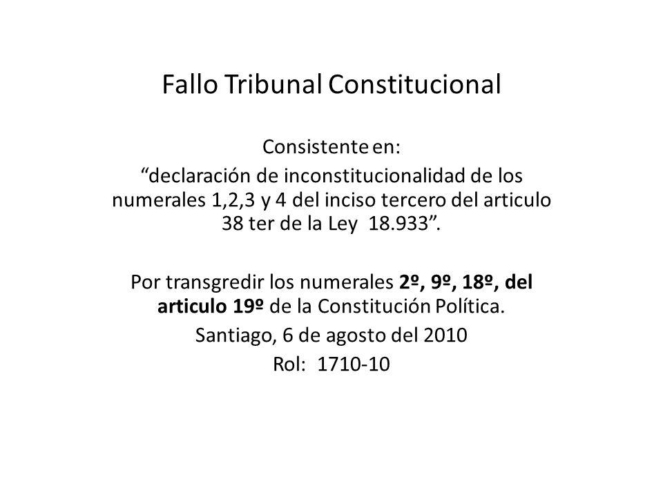 Fallo Tribunal Constitucional Consistente en: declaración de inconstitucionalidad de los numerales 1,2,3 y 4 del inciso tercero del articulo 38 ter de la Ley 18.933.