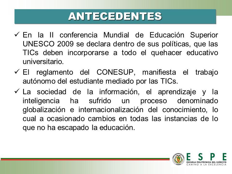 En la II conferencia Mundial de Educación Superior UNESCO 2009 se declara dentro de sus políticas, que las TICs deben incorporarse a todo el quehacer educativo universitario.