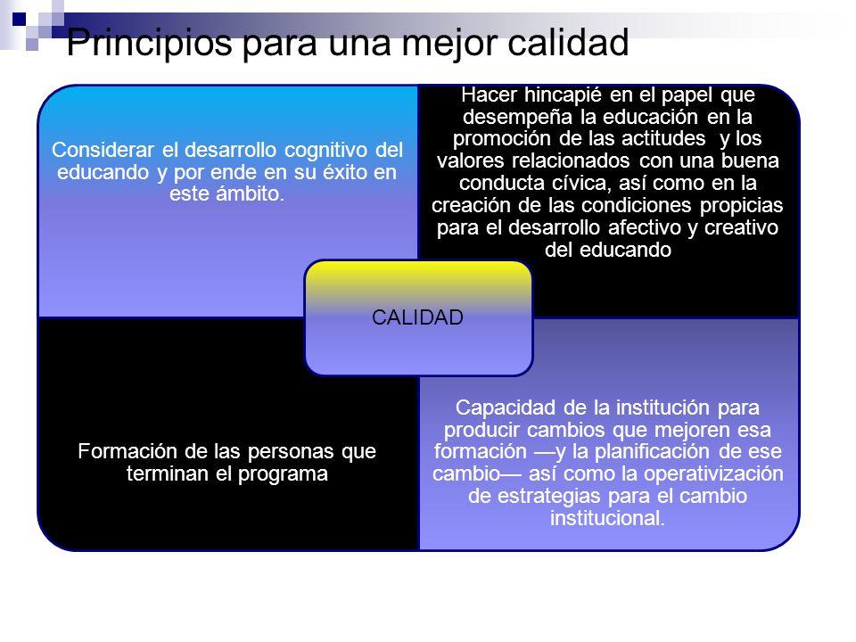 Principios para una mejor calidad Considerar el desarrollo cognitivo del educando y por ende en su éxito en este ámbito.