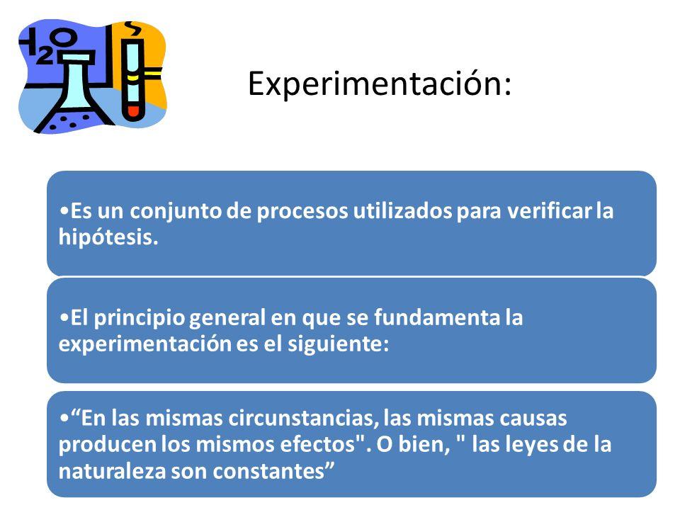 Experimentación: Es un conjunto de procesos utilizados para verificar la hipótesis. El principio general en que se fundamenta la experimentación es el