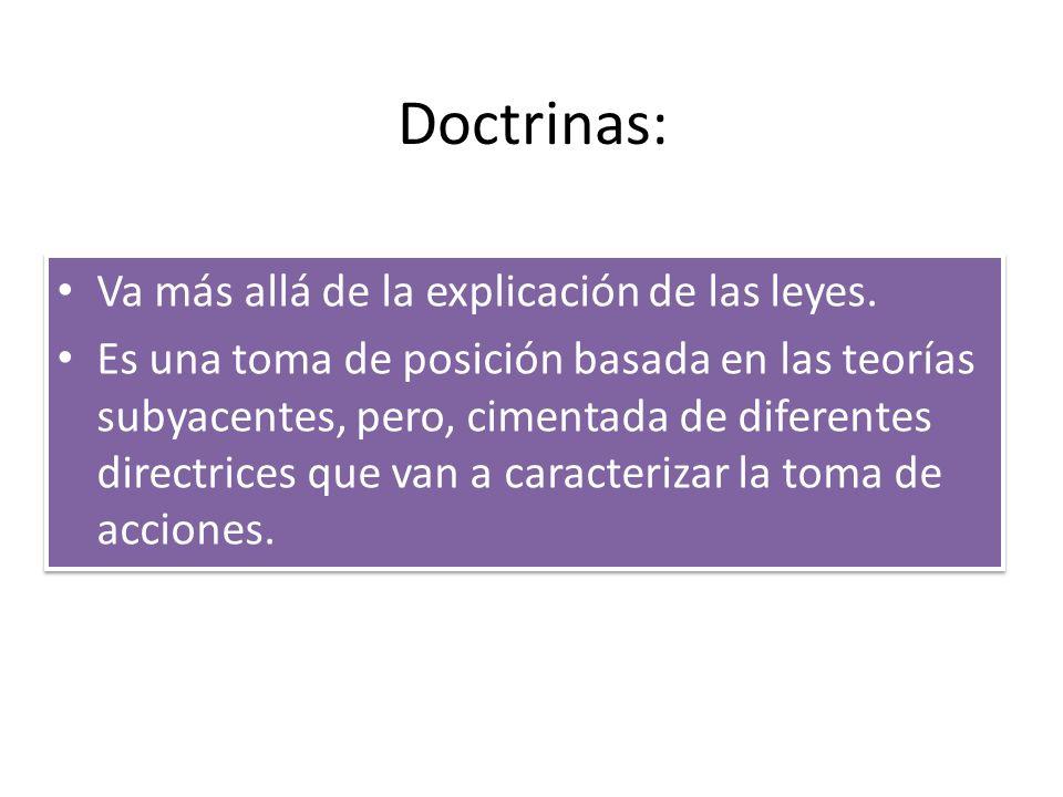Doctrinas: Va más allá de la explicación de las leyes. Es una toma de posición basada en las teorías subyacentes, pero, cimentada de diferentes direct