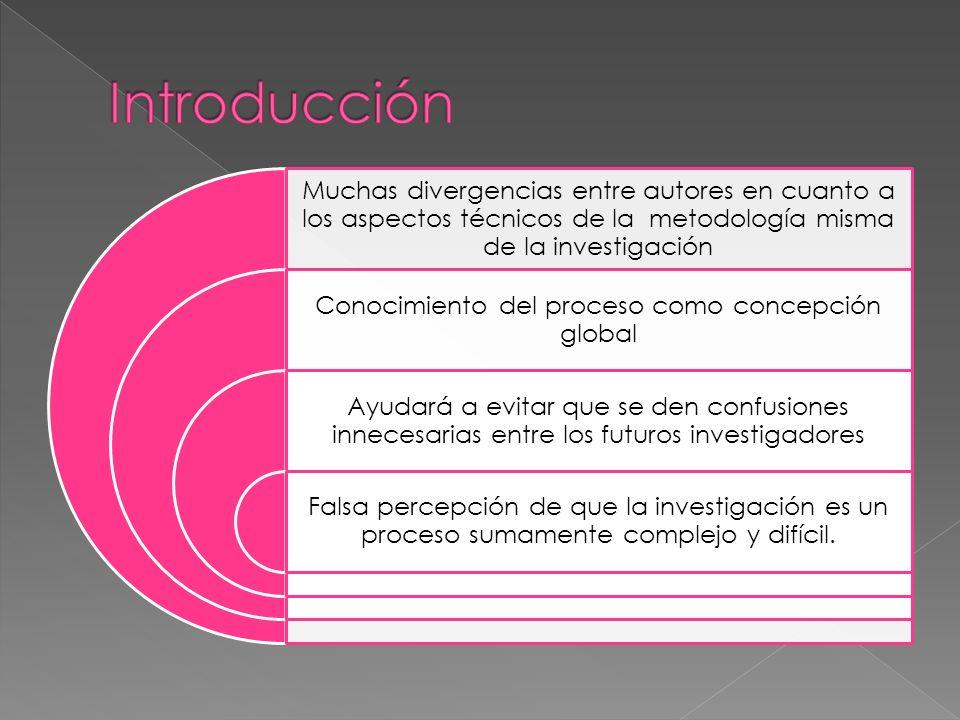 Muchas divergencias entre autores en cuanto a los aspectos técnicos de la metodología misma de la investigación Conocimiento del proceso como concepci