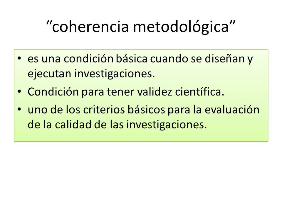 coherencia metodológica es una condición básica cuando se diseñan y ejecutan investigaciones. Condición para tener validez científica. uno de los crit