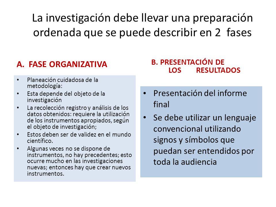 La investigación debe llevar una preparación ordenada que se puede describir en 2 fases A. FASE ORGANIZATIVA Planeación cuidadosa de la metodología: E
