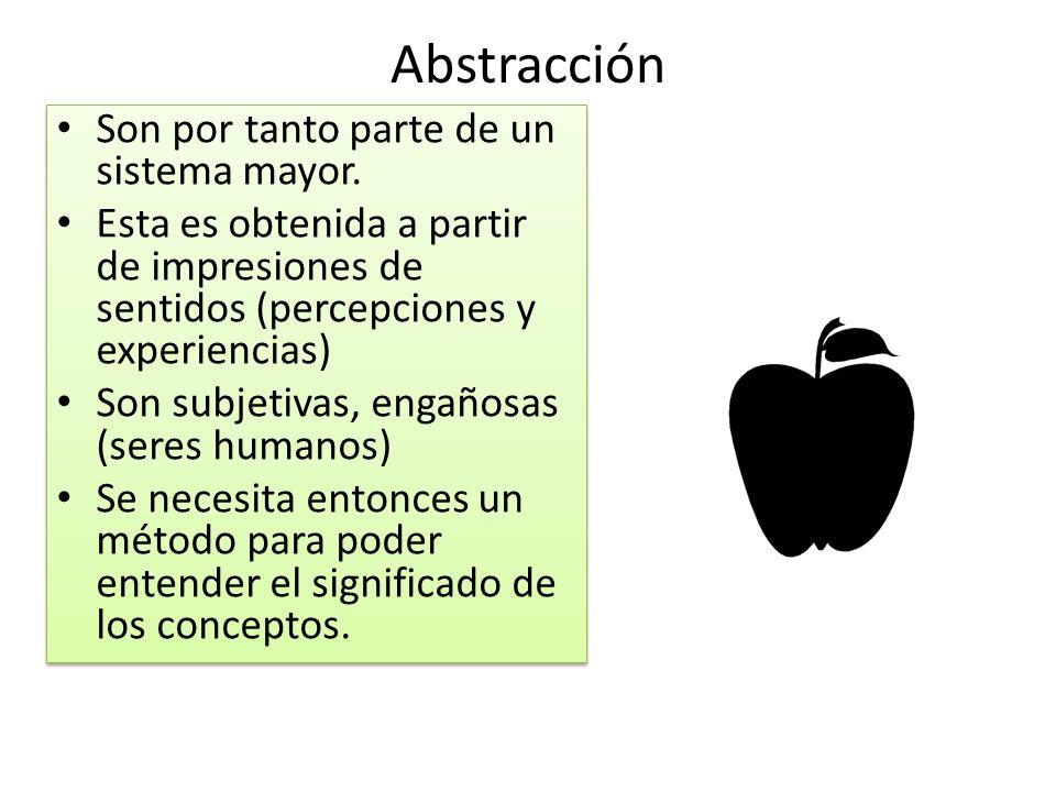 Abstracción Son por tanto parte de un sistema mayor. Esta es obtenida a partir de impresiones de sentidos (percepciones y experiencias) Son subjetivas