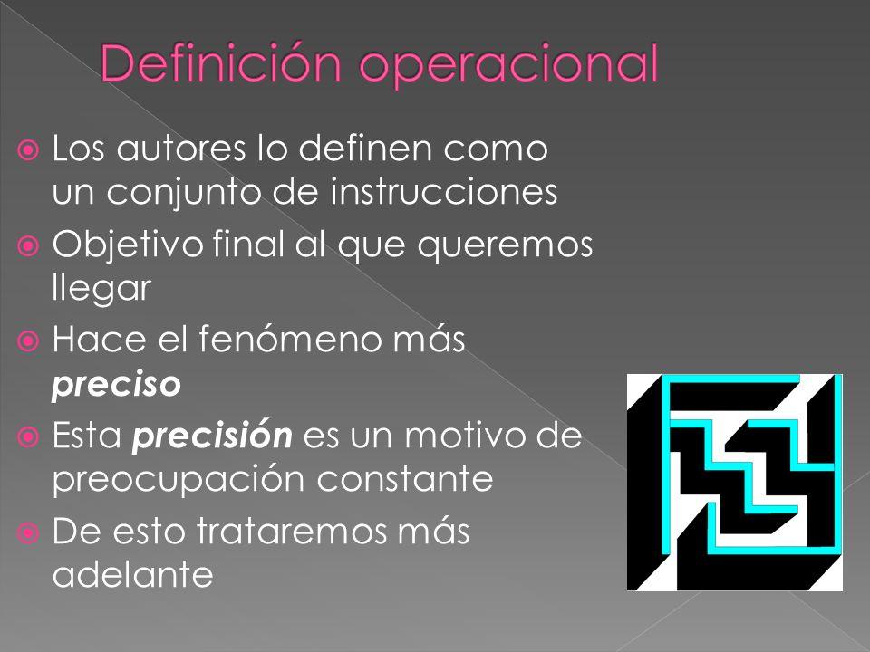 Los autores lo definen como un conjunto de instrucciones Objetivo final al que queremos llegar Hace el fenómeno más preciso Esta precisión es un motiv