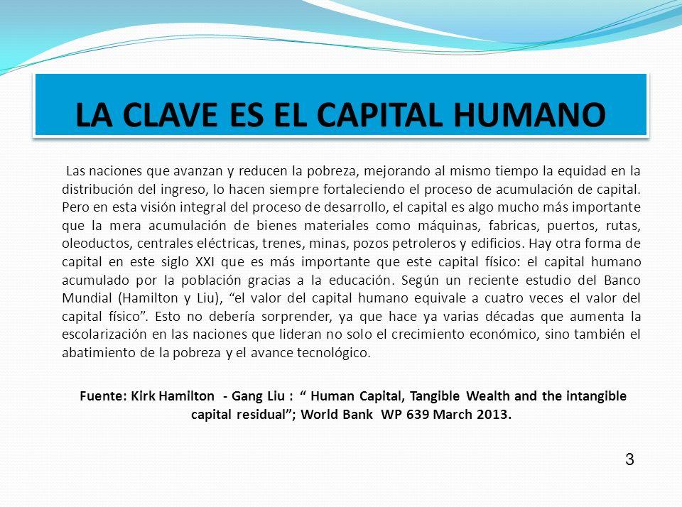 LA CLAVE ES EL CAPITAL HUMANO Las naciones que avanzan y reducen la pobreza, mejorando al mismo tiempo la equidad en la distribución del ingreso, lo hacen siempre fortaleciendo el proceso de acumulación de capital.
