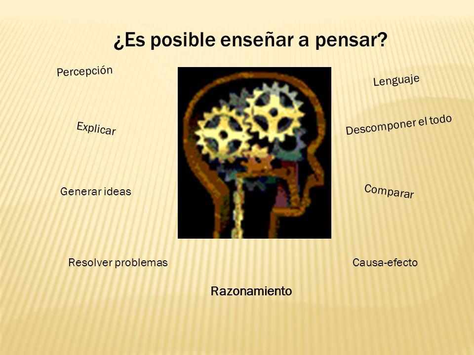 ¿Es posible enseñar a pensar? Explicar Comparar Lenguaje Causa-efecto Descomponer el todo Percepción Generar ideas Resolver problemas Razonamiento