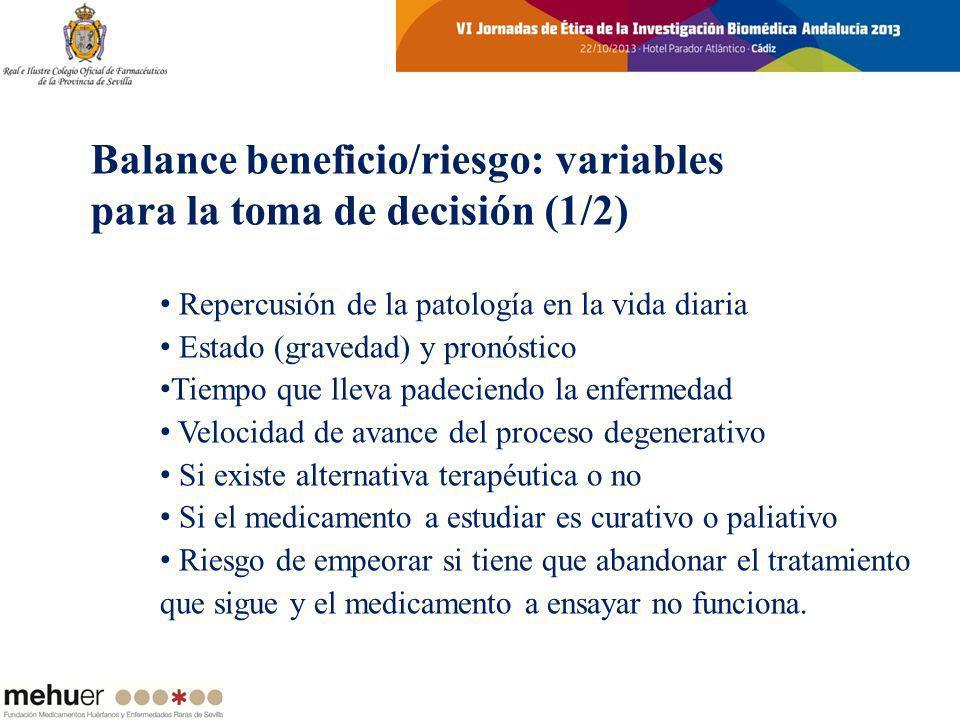 Repercusión de la patología en la vida diaria Estado (gravedad) y pronóstico Tiempo que lleva padeciendo la enfermedad Velocidad de avance del proceso