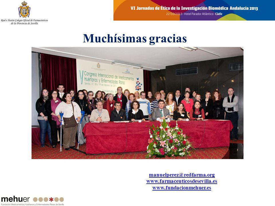 Muchísimas gracias manuelperez@redfarma.org www.farmaceuticosdesevilla.es www.fundacionmehuer.es