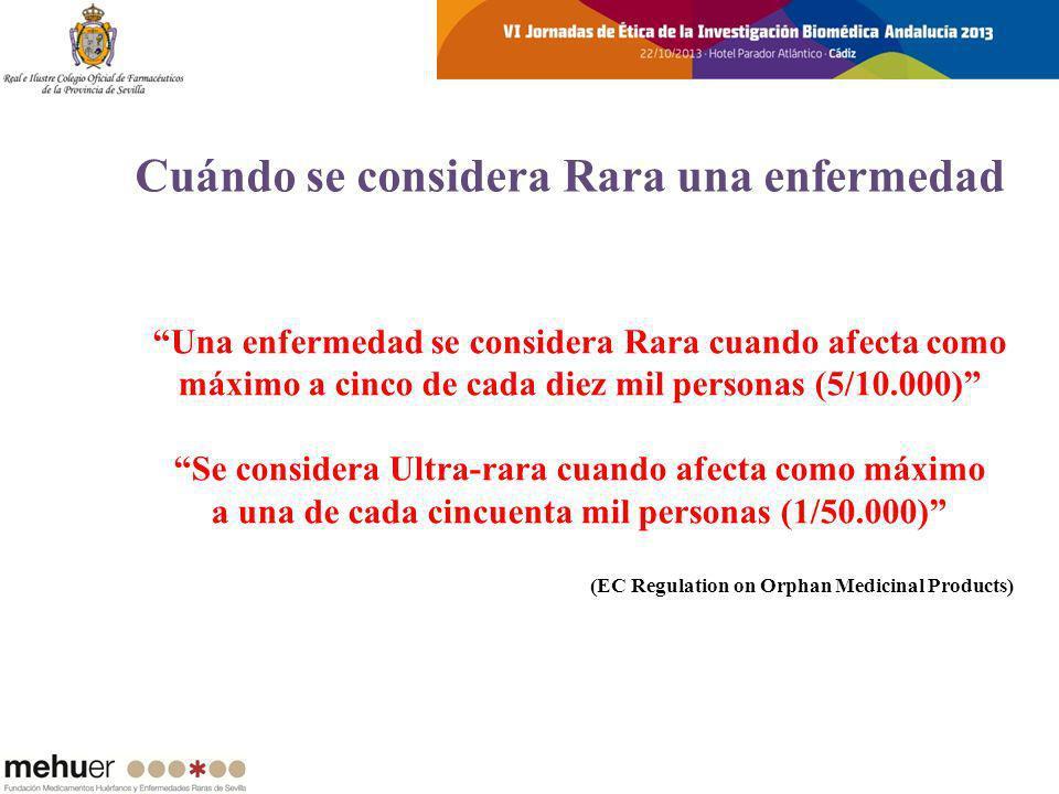 Se calcula que hay 3 millones de afectados en España Existen más de 7.000 Enfermedades Raras el 80% tiene origen genético 2 de cada 3 casos aparecen antes de los 2 años de edad El 65% de ellas son graves, discapacitantes, crónicas y degenerativas En un 50% de los casos, el pronóstico vital está en juego, al ser la causa de: * el 35% de las muertes de niños menores de 1 año * el 10% entre 1 y 5 años * el 12% entre los 5 y 15 años Fuente: EURORDIS (Rare Diseases Europe) Enfermedades Raras