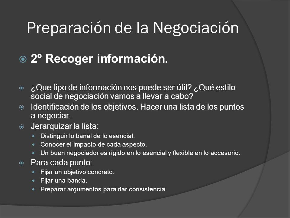 Preparación de la Negociación 2º Recoger información. ¿Que tipo de información nos puede ser útil? ¿Qué estilo social de negociación vamos a llevar a