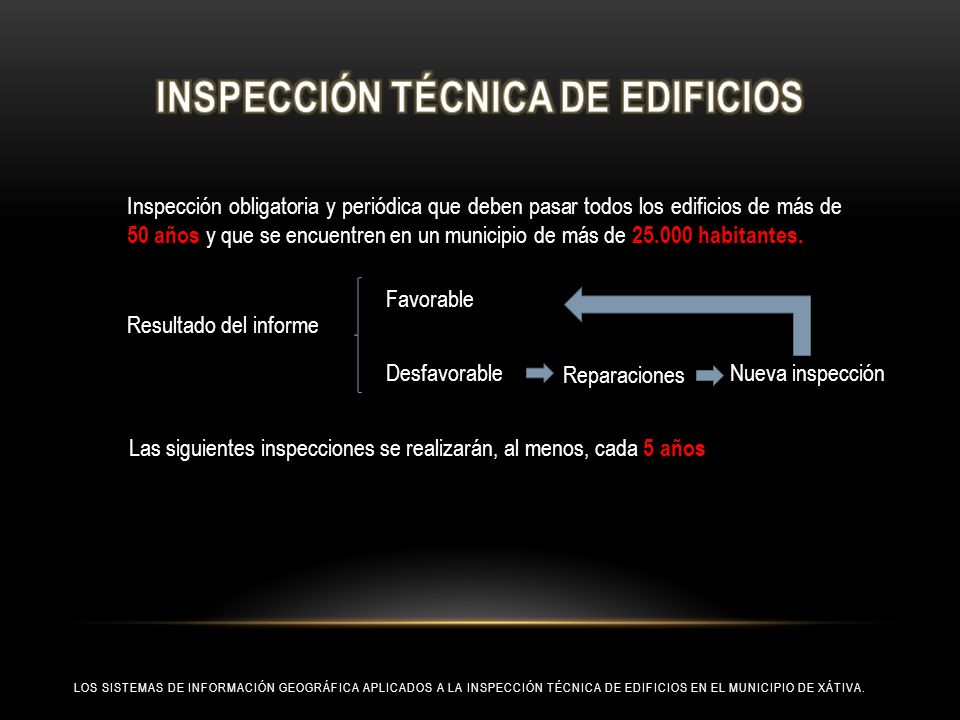 LOS SISTEMAS DE INFORMACIÓN GEOGRÁFICA APLICADOS A LA INSPECCIÓN TÉCNICA DE EDIFICIOS EN EL MUNICIPIO DE XÁTIVA. Inspección obligatoria y periódica qu